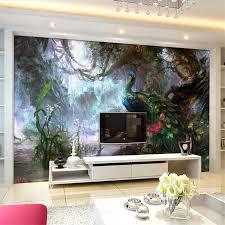 Beibehang Custom Tapete 3d Foto Wandmalereien Schöne Pfau ölgemälde