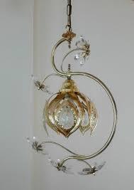 design chandelier lotus flower copper crystal
