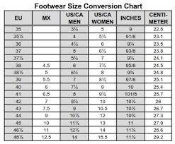 Sailing Footwear Conversion Chart Todo Vela Mexico