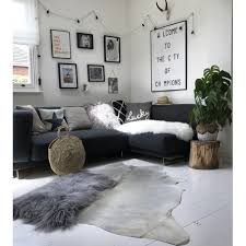 nordic pale grey off white cowhide rug