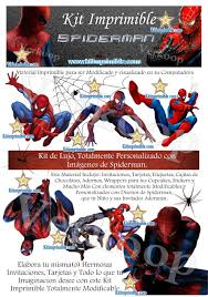 Invitaciones De Spiderman Para Editar Kit Imprimible Spiderman Invitaciones Tarjetas Cajas Fondos Y