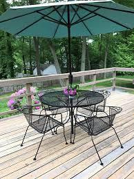 mid century wrought iron patio set with