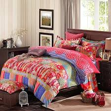 alluring bohemian duvet with book shelves and wooden nightstand