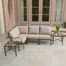 gray outdoor patio set. granbury 6-piece metal outdoor sectional with fossil cushions gray patio set s