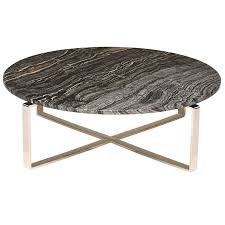 Rosa Marble Coffee Table Black/Polished Silver