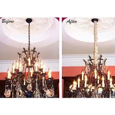 before and after use of cord coverups silk cord cover on chandelier icon