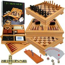 Wooden Board Game Sets Deluxe 10000in100 Game Set Chess Backgammon etc This incredible 10000 74