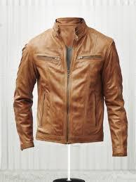 slim fit bikers men s tan brown leather jacket