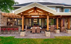 i like the roof and posts rustic outdoor kitchens outdoor kitchen patio patio bar