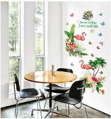 home wall decoration sticker flamingo bedroom living room wall paper green leaf flamingo sticker