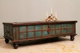 Indian Coffee Table Distressed Blue Antique Indian Wedding Trunk Coffee Table