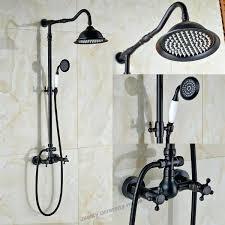 oil rubbed bronze shower faucet set oil rubbed bronze shower faucets set rainfall waterfall shower heads