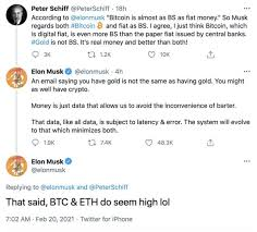 I`am expecting to see the money on my account within. Elon Musk Admits That Bitcoin And Ethereum Seem High In Exchange With Gold Bug Peter Schiff