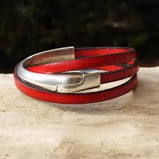 handmade red leather wrap bracelet with silver half bangle