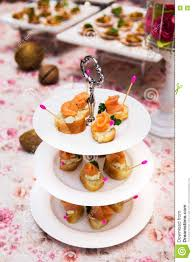 Mini Canapes With Smoked Salmon Stock Photo Image Of Coffee