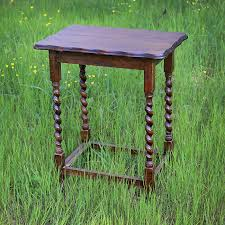 barbara vintage walnut side table with barley twist legs