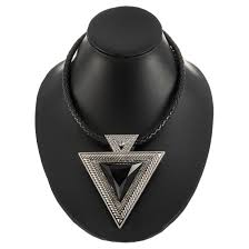 amnor crystal black ancient silver triangle pendant necklace