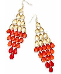 kate spade thalia sodi gold tone red ombre teardrop chandelier earrings wear