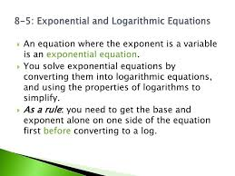 ppt chapter 8 5 exponential and logarithmic equations day 1