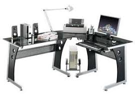 image corner computer. Black Glass Corner Computer Desk Image U
