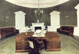 original office. Hand-tinted Photo Of The Original Oval Office Desgined By Architect Nathan  C. Wyeth, C. 1909. The Has Been Main Office For President B