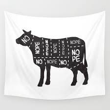 Vegetarian Vegan Cow No Meat Cut Chart Diagram Wall Tapestry