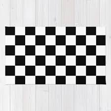 black white checker checkerboard checkers rug