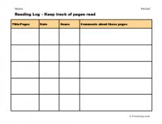 Reading Log Chart Reading Logs Freeology