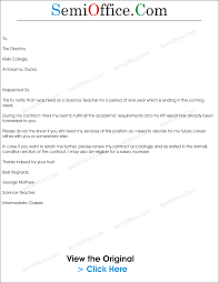 Contract Renewal Letter Sample Request Renew Employment As Teacher