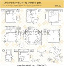 floor plan furniture symbols bedroom. A Set Of Furniture Icons For The Bedroom, Top View. Layout Plan Floor Symbols Bedroom M