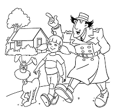 Inspector Gadget Penny And Dog Walking Coloring Pages For Kids