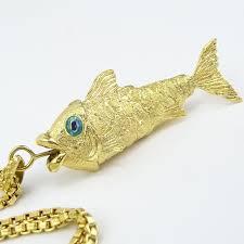 vintage italian 18 karat yellow gold articulated fish pendant on 18 karat yellow gold box link