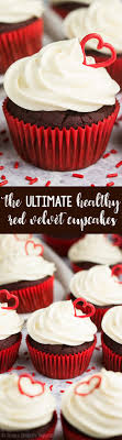 the ultimate healthy red velvet cupcakes topped with heartshaped decorations cream cheese red velvet cake texture6 texture