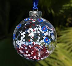 Red White and Blue Christmas Ornament Hand Painted Patriotic Fireworks  Glass Hanging