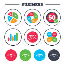 Business Pie Chart Growth Graph Angle 45 360 Degrees Icons