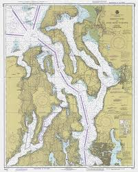 Nautical Charts Of Puget Sound Washington Territory 1927 Vintage Restoration Hardware Home Deco Style Old Wall Reproduction Map Print