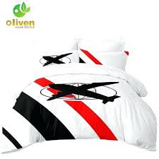 airplane bedding set queen kids cartoon military fans duvet cover black red striped bed white