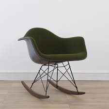 eames rocking chair green. 1 x herman miller original eames green velvet upholstered rar rocking chair e