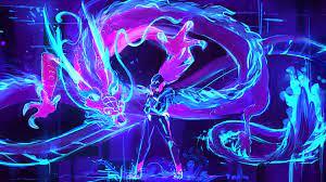 Wallpaper 4k K/DA Akali Neon Dragon ...
