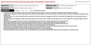Microfilm Processor Resume Sample