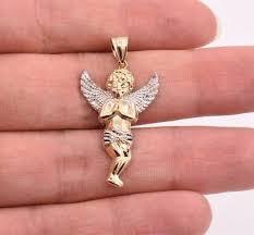 1 5 men s two tone baby angel pendant