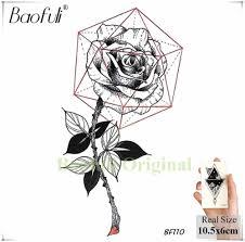 Baofuli эскиз художественная татуировка роза геометрическая оставьте временная
