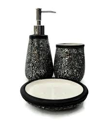 Bath Designs Crackle Collection Black Crushed Glass Look Of Black