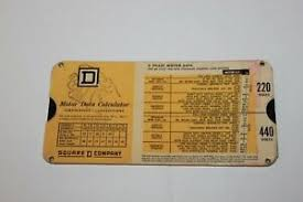 Details About Vintage Square D Company Motor Data Cardboard Calculator Slide Chart 1966