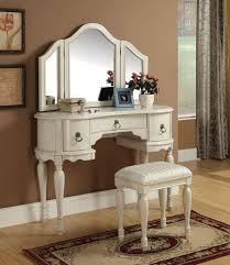 acme 90024 25 trini 3 pc off white finish wood make up dressing table vanity set