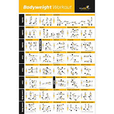 bodyweight exercise poster total body workout personal trainer fitness program for women home gym poster tones core abs legs gluts upper body