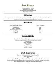 Examples Of High School Student Resume Sample Restaurant Resumes Inspirational 100 Free High School Student 44