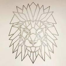 geometric metal wall art unique lion animal