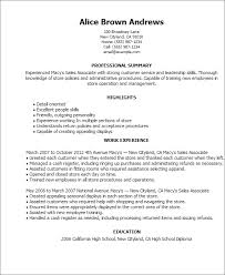 resume templates macy s s ociate