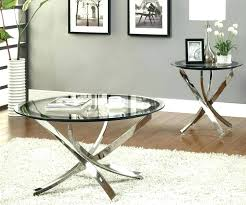 full size of round clear glass coffee table with curved nickel base and end tables co
